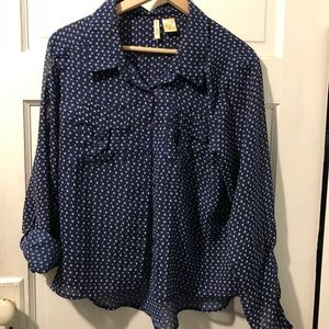 Patterned Button-down Blouse
